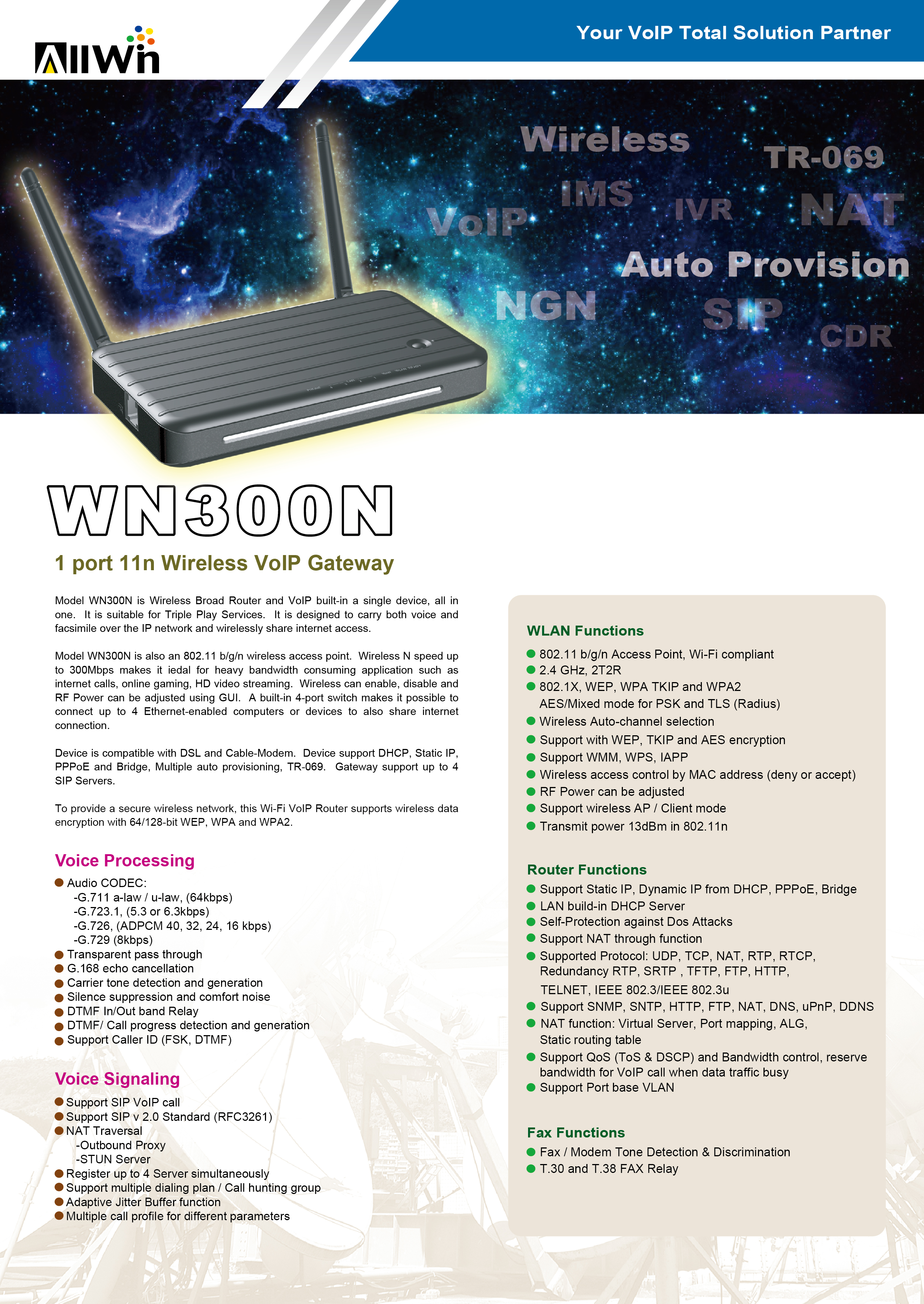 Wifi VoIP Router - ALLWIN TECH